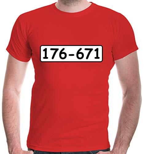 buXsbaum® Herren T-Shirt Bankräuber Kostüm | Fasching Räuber | S, Rot