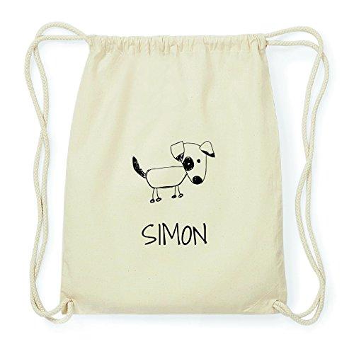 JOllipets Simon Hipster Turnbeutel Tasche Rucksack aus Baumwolle - Design: Hund - Farbe: Natur -