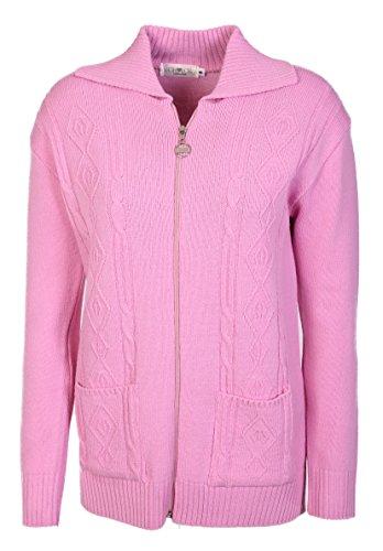 Maglione da donna lavorato a maglia, a maniche lunghe, con chiusura a cerniera, stile classico, taglia: 40-52 Pink