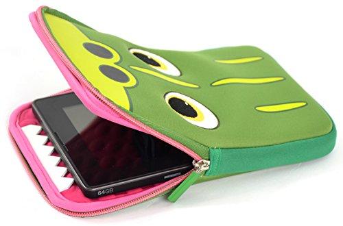 Tab Zoo Universal Pouch Case Schutzhülle mit integriertem Stand für 8 Zoll (20,3 cm) Tablets im niedlichen Design - Krokodil