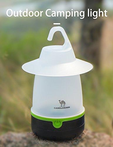 CAMEL CROWN LED Campinglampe Tragbare Zeltlampe mit 3 Leuchtfunktionen Wasserfeste Laterne mit 2700mAh Mangan-Zink-Batterie für Innen und Außen für Camping Wandern Nachtangeln Notfall Stromausfall
