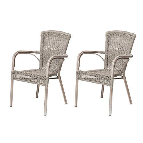 2x Gartenstühle VERONA-Terrassensessel / Bistrostuhl mit Armlehnen ...