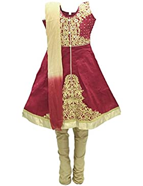 GCS3249 Maroon y Buridar Girl Juego Churidar Indian Bollywood Fancy Dress