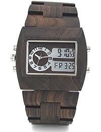 Uwood - Reloj de pulsera para hombre de madera de sándalo, pantalla multifuncional luminosa
