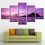 Wiwhy (Kein Rahmen) Moderne Modulare Bilder Leinwand 5 Stücke Lila Himmel Und Insel Seascape MalereiKunst Decor Home Wohnzimmer Wand Hd Drucke