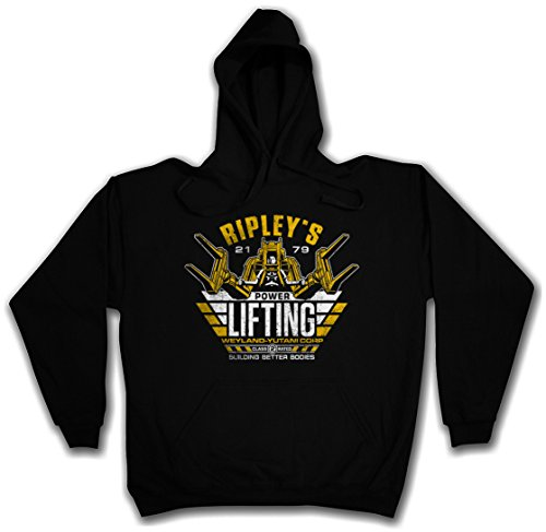 RIPLEY'S POWER LIFTING HOODIE HOODED PULLOVER SWEATER SWEATSHIRT MAGLIONE FELPE CON CAPPUCCIO – Sizes S – 2XL Nero