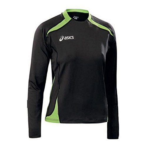 Asics - Top de manga larga para mujer, para correr, color Black / Lime Green, tamaño mediano