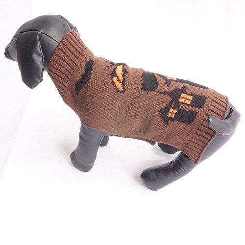 YCGG-Hunde Kleine Hundchen Atmungsaktiv Gestrickte Pullover Haustier Hund Halloween Brown Fledermäuse Schloss Stil Haustier Hund Cute Kleidung Welpen Winter Pullover(,)