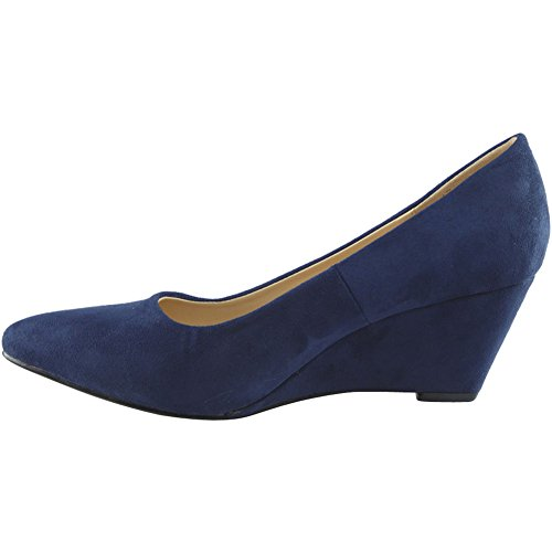 Womens Ladies Low Mid Heel Casual Office Work Pointed Toe Court Shoes Size 3-8 Navy Suede