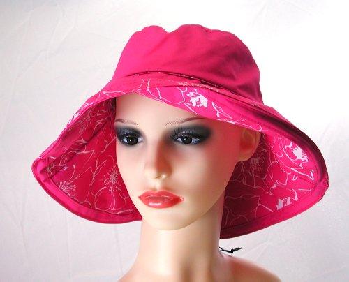 Pia Rossini Costa classique réversible Coton Chapeau de plage pour femme 4 couleurs Multicolore - Fuschia and White