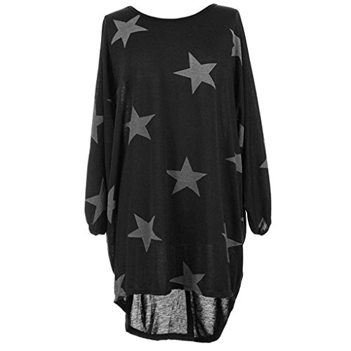 Tunique Femme Longue Grande Taille Pullover Ooversize Robe Baggy T-shirt Etoile Imprimé Pull Automne Hiver Haut Manche Chauve Souris Chemisier Blouse Top Casual Sweatshirt – Landove Noir