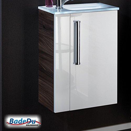 Badmöbelset (2-teilig): Glaswaschtisch & Waschtischunterschrank weiß (rechts)