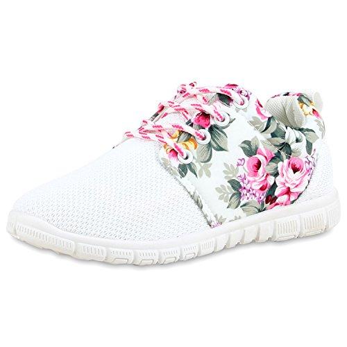 Unisex Damen Laufschuhe Fitness Sneaker Sport Turnschuhe Damen Sportschuhe Weiss Pink Blumen Nuovo 37