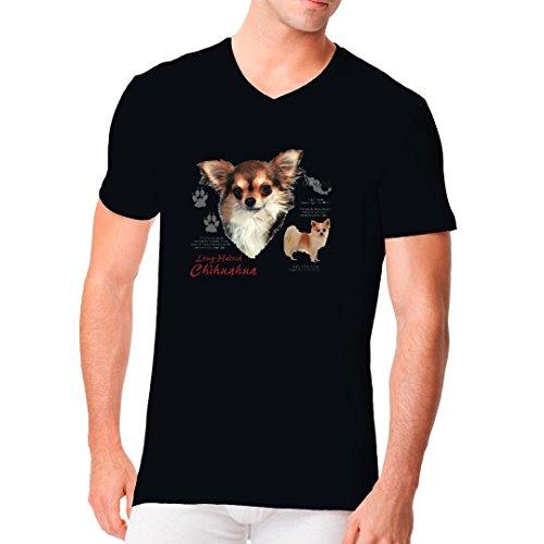 Im-Shirt - Chihuahua Langhaar Hund cooles Fun Men V-Neck - verschiedene Farben Schwarz