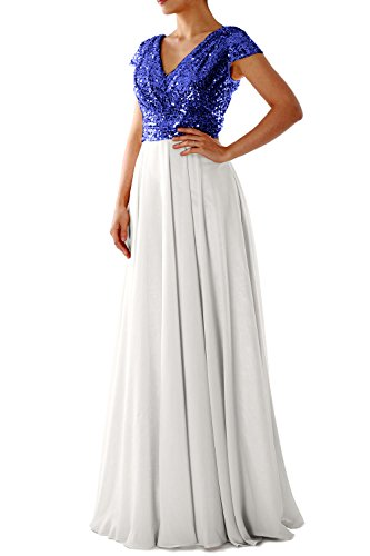 MACloth Cap Sleeve V Neck Sequin Chiffon Bridesmaid Dress Formal Evening Gown #N/A