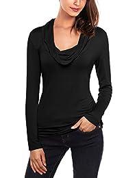 DJT Fashion T-Shirt femme Manches longues Slim Fit Sweatshirt Pull Veste piles collier-bas pullover Blouse Chemisier