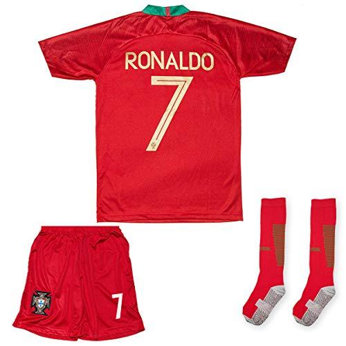 ATB Portugal Ronaldo Heim/Auswärts 18/19 Kinder Trikot Hose mit Socken (140, Heim)