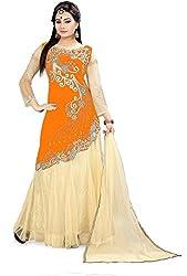 Fabcartz Self Design Velvet Lehenga Choli (FabC_10_Beige Orange_Free Size)