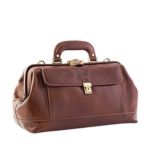CHIARUGI sac poche avant de Médecin En Cuir Italien, marron (Marron) - C00065