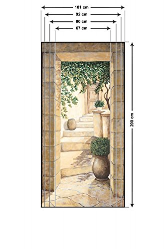 Metall Toskana Spiegel (Artland Türbilder selbstklebend aus Vliesstoff oder Vinyl-Folie Andres Eingang - Fresco Architektur Fenster & Türen Malerei Creme D5CN)