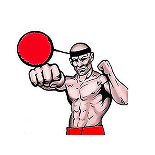 Xshuai 100 cm Einstellbar Kampfkugel Mit Kopfband Für Reflex Speed Training Boxing Boxer Übung Für Kickboxen, Muay Thai, Taekwondo (Rot) - 5