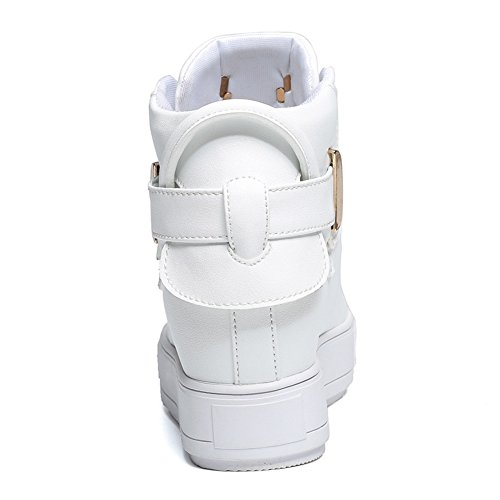 Damen Sneakers Dicke Sohle Aufzug Moderne Glattleder Herbst Stiefelette Weiß