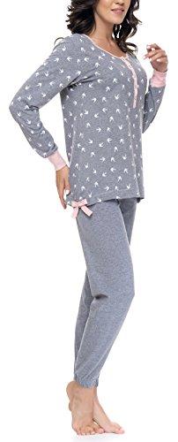 DN Nightwear pigiama da donna / pigiama Isabella per gravidanza e allattamento / maniche lunghe Grau Mint L