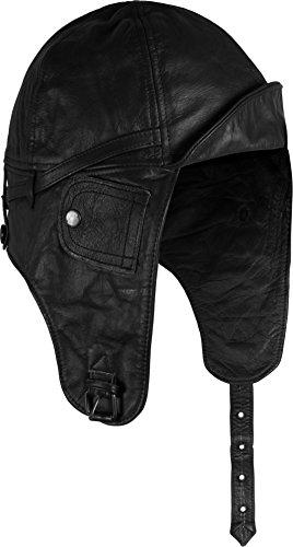 rhaube Pilotenmütze aus echtem Rindsleder Farbe Schwarz Größe XXL ()