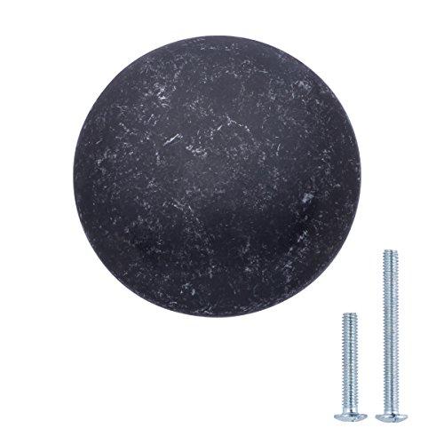 AmazonBasics - Schubladenknopf, Möbelgriff, rund, Durchmesser: 3,98 cm, Antik-Silber, 10er-Pack