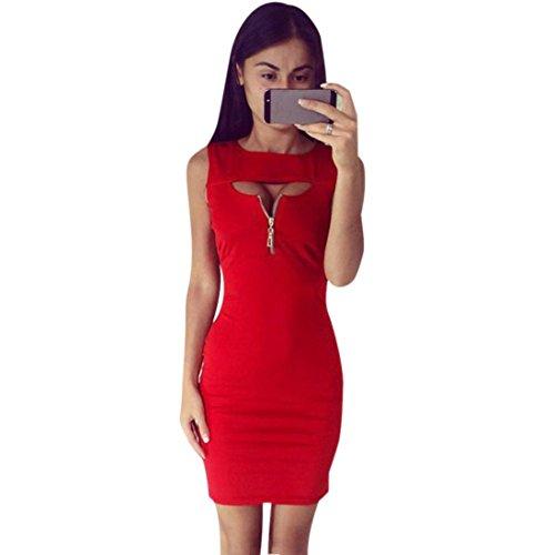 Damen Kleider Frauen Dress Bodycon Sommerkleider Ärmelloses MiniKleid A Line Vintage Partykleid Cocktailkleid Solid Bleistiftkleid Casual T-Shirt Kleid Reißverschluss Etuikleid (L, Sexy Rot) (Vintage-jersey Crew)