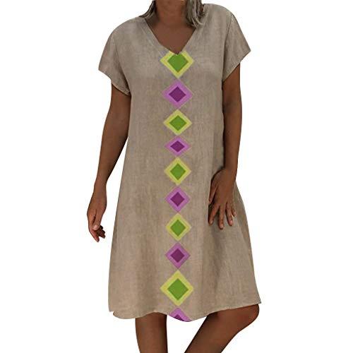 LOPILY Blusenkleider Damen Böhmischen Strand Blumendruck Sommerkleider Casual Langes Shirt Beiläufig Floral Print Pocket Strandkleid Vintage Kleider mit Taschen(X1-Grau,EU-36/CN-S) -