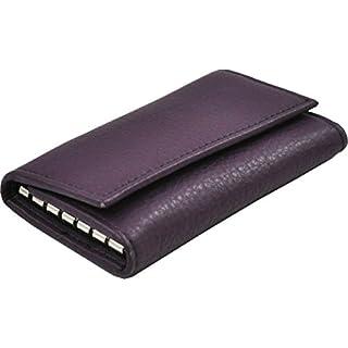 Ashford Ridge Real Leather Key Case Holder Card Wallet in Purple