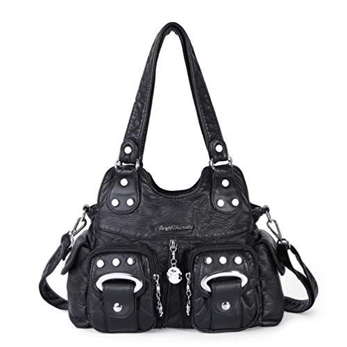 Weiche pu-Leder Mode europäischen Stil umhängetaschen für Frauen mehrfach Damen Crossbody handtaschen Black -