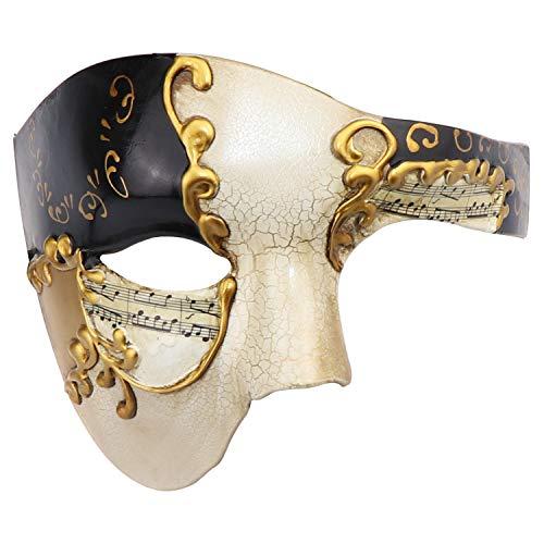 Maschera mascherata di maschere di carnevale veneziano di mezza faccia vintage design maschera (beige e nero)