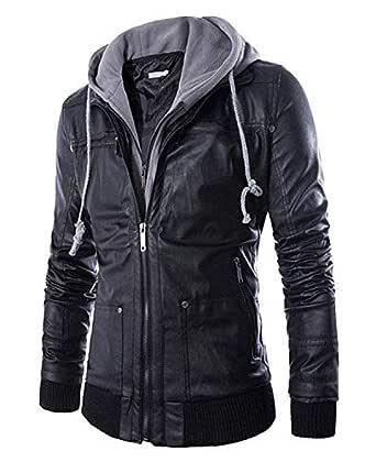 Pomo-Z Men's Faux Leather Hooded Biker Outerwear Jacket (Black, X-Small)