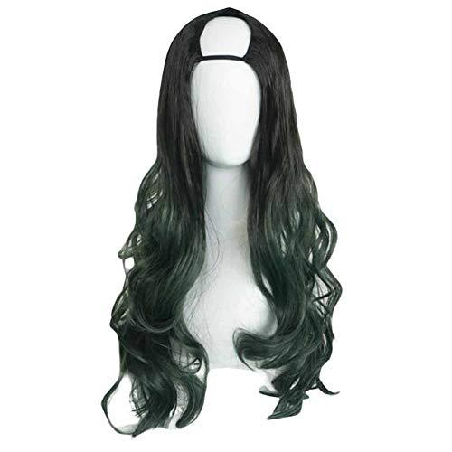 65 cm Noir/Vert forme de U 2 tons longs bouclés perruque de cheveux Cosplay perruque Atrovirens