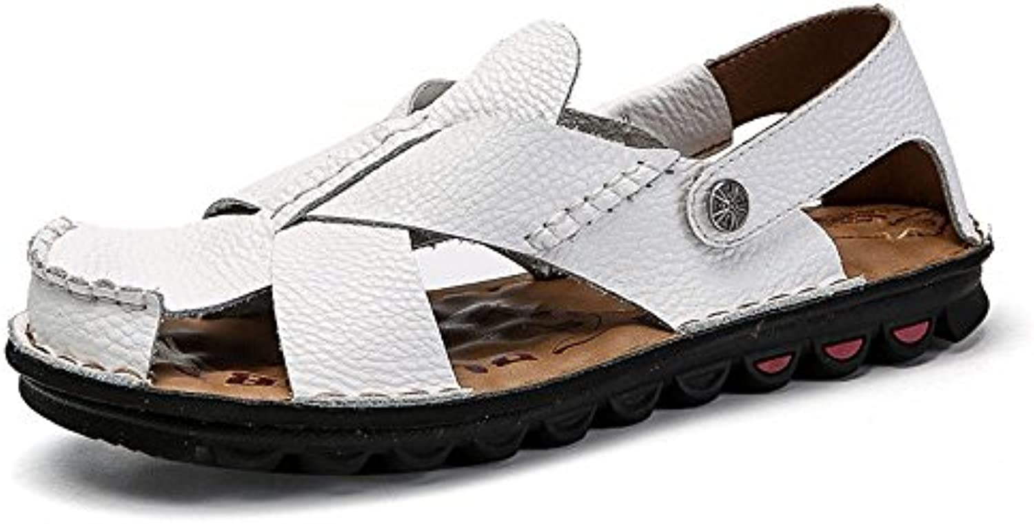 QXH Men's Sandals Beach Shoes Leather Round Head Breathable Casual