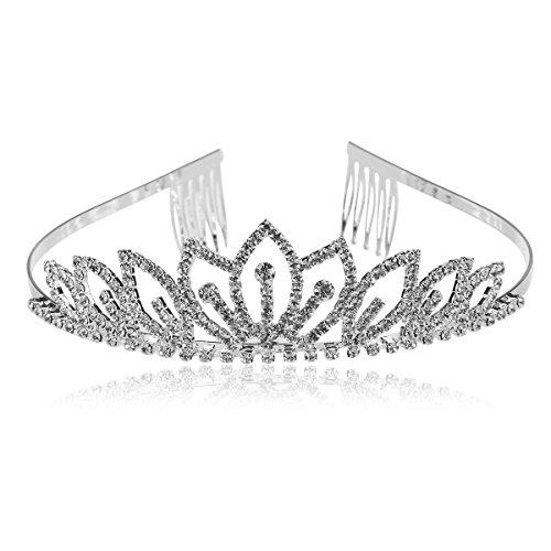 rosenice Diadem Hochzeit Krone Tiara Haarreif mit Kamm und Kristall Strass Blume (Silber)