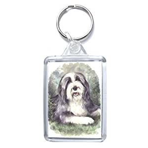 Bearded Collie Porte-clés - Made in UK, de la peinture originale d'aquarelle