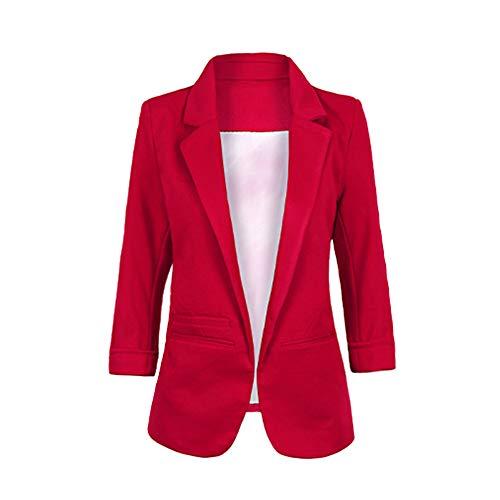 Chaqueta de Traje de Negocios para Mujer Blazers Manga 3/4 Slim Fit Elegante Blázer Vino Rojo XL
