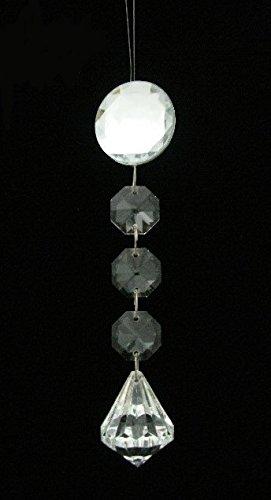 multifacettierten Acryl Weihnachten baumeln Ornaments mit großen 9-sided Tropfenform Ende aus 3Top Form Steine wählen, Sonstige, farblos, 1 inch (Round) (Glas Top Gem Box)