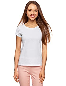 oodji Ultra Donna T-Shirt Basic in Cotone (5 PZ)