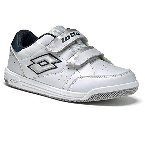 Lotto T-Basic Viii CL S, Chaussures de Tennis Unisexe-Bébé Multicolore - Blanco / Plateado (Wht / Slv Mt)