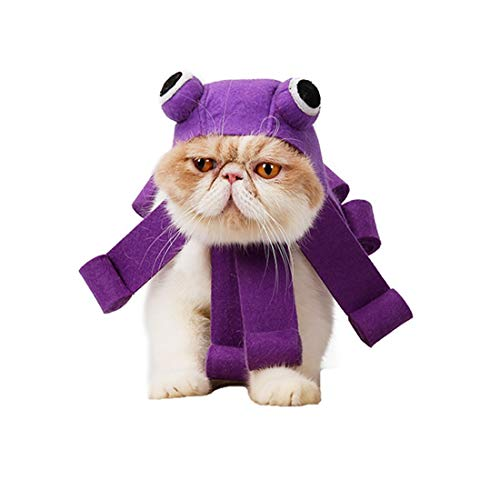 VICTORIE Haustier Hut Kopfbedeckung Kraken Halloween Kostüm Feiertag Karneval Cosplay Party für Hunde Katze Welpen
