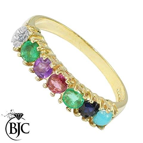 BJC® Dearest or jaune 9ct Bague Diamant émeraude Améthyste RUBIS Saphir Turquoise