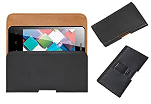 Acm Belt Holster Leather Case For Karbonn Smart A4 Mobile Cover Holder Clip Magnetic Closure Black