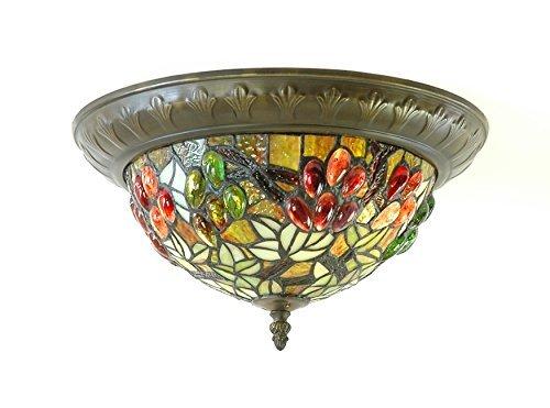AL5354 Tiffany Deckenleuchte Handgearbeitet Tiffany Glas Durchmesser 38 cm Höhe 19 cm 2 x Fassung E27 Für Energiesparlampen geeignet