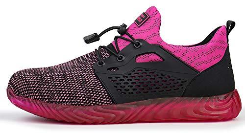 tqgold Herren Damen S3 Sicherheitsschuhe Leicht Sportlich Arbeitsschuhe Schutzschuhe mit Stahlkappe Breathable Comfortable rutschfeste Schuhe(Pink,Größe 36)
