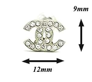 782835b41 TI-CC swarovski CRYSTAL STUDS : Pretty Rhinestone Fashion Earrings  (Small--Silver