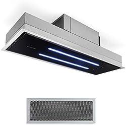 Klarstein High Line Hotte aspirante de plafond, encastrée, 77 cm, CEE C, 410 m3/h, air de circulation et d'évacuation, 3 niveaux, LED, télécommande et filtre à charbon actif, inox/verre noir